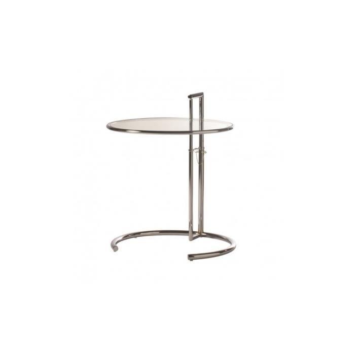 Table d'appoint design plateau ajustable verre Monocle