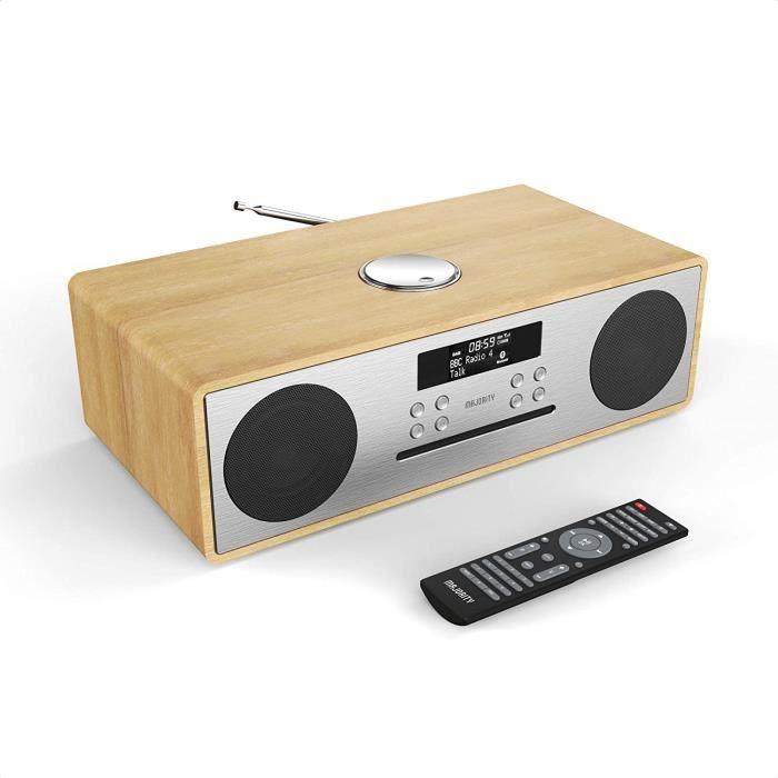 Majority Radio Dab/Dab+/FM 'Oakington' - 30W Hi-FI Lecteur CD - Télécommande - Bluetooth - Connexion TV - Réveil - Lecteur et Charge