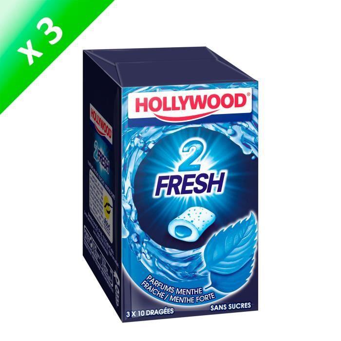 [LOT DE 3] Hollywood 2Fresh chewing-gum menthe fraîche sans sucres 30 dragées