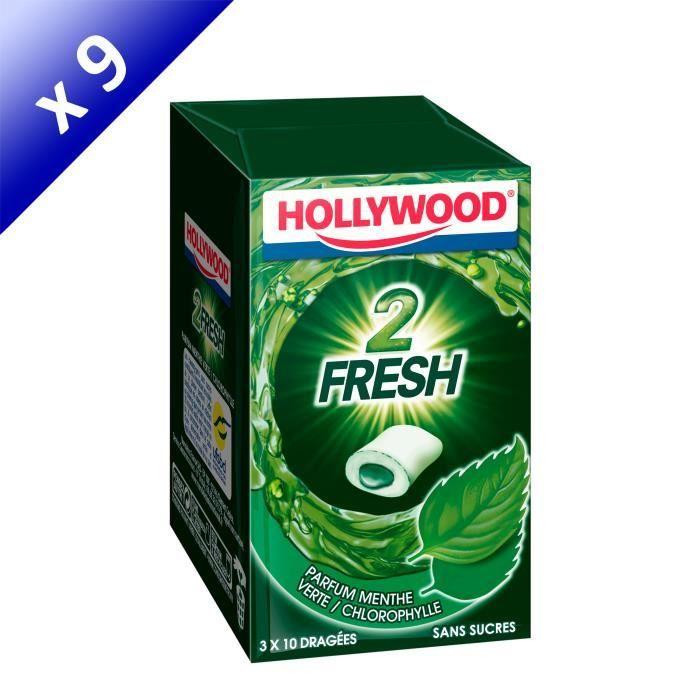 [LOT DE 9] Hollywood 2Fresh chewing-gum menthe verte sans sucres 30 dragées
