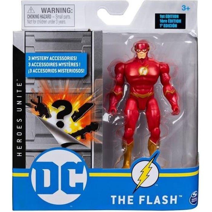 Coffret Figurine The Flash 10 cm Avec 3 Accessoires Mystere - Personnage DC Rouge - Super Heros - Jouet Garcon