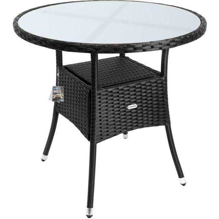 Table en polyrotin surface ronde Ø 80cm noir verre balcon jardin table d'appoint