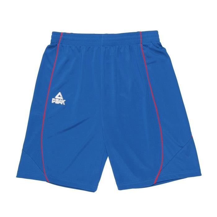 PEAK Short de basketball Tony Parker - Enfant - Bleu et rouge