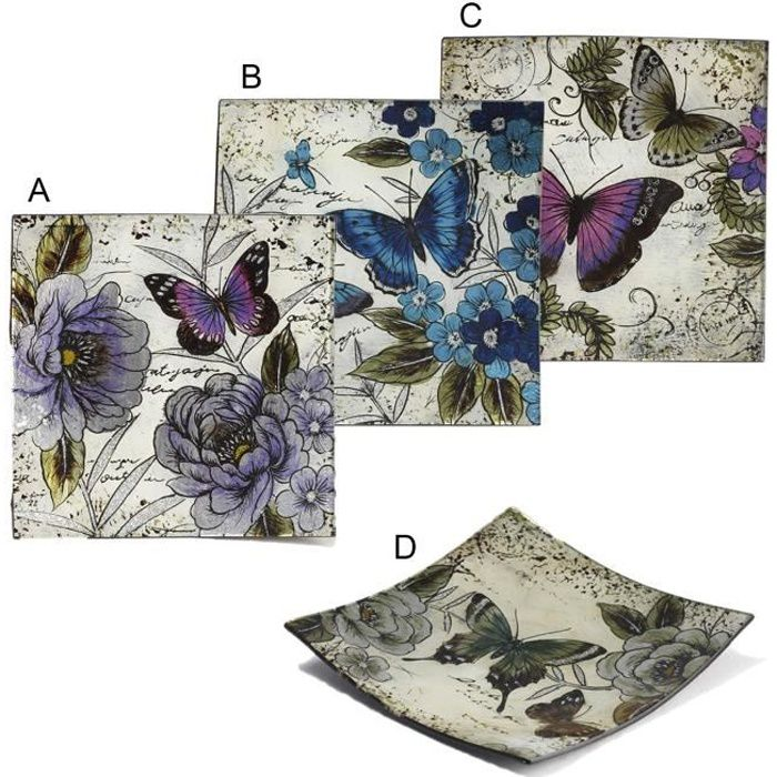 Assiettes décoratives (24x24 cm) carrés Mariposa 4 modèles (A)