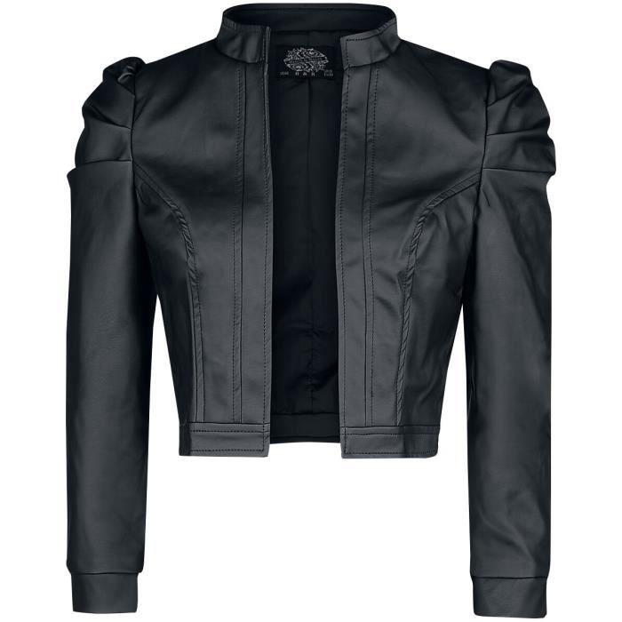 H&R London Veste Serena Femme Veste en imitation cuir noir