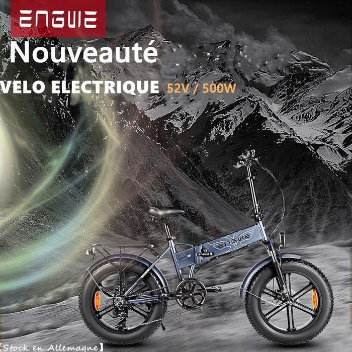 2020 ENGWE 500W Vélo électrique 20 pouces e-bike gros pneu montagne plage vélos de neige pour adultes (gris)