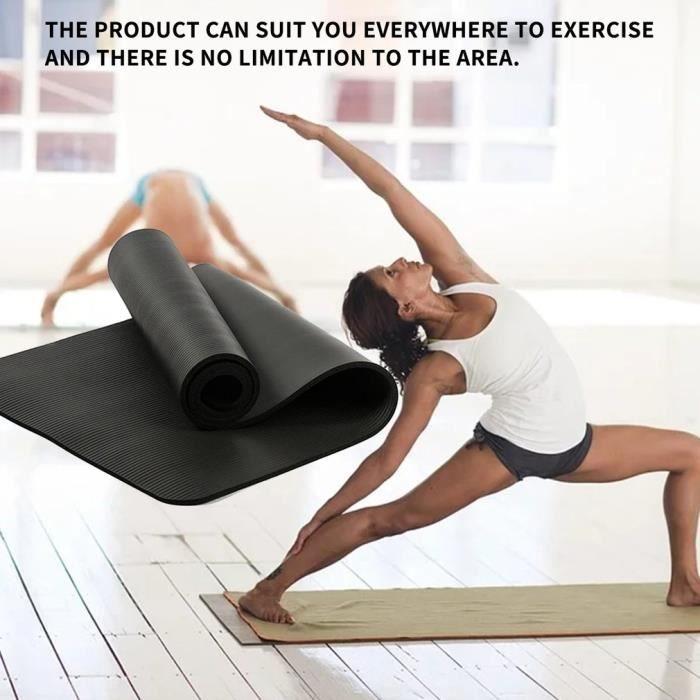 Veronique Tapis de yoga insipide multifonctionnel, tapis de yoga épais, tapis de sport en caoutchouc, noir