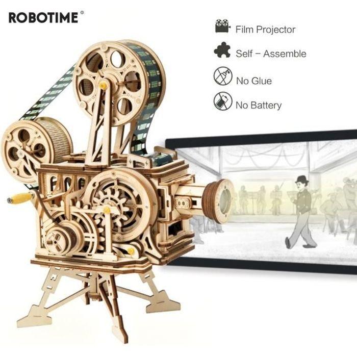 ROBOTIME Vitascope DIY Modèle Kits de Construction Montage Vintage Film Projecteur Ensemble 3D Puzzle En Bois À La Main Jouet Cadeau