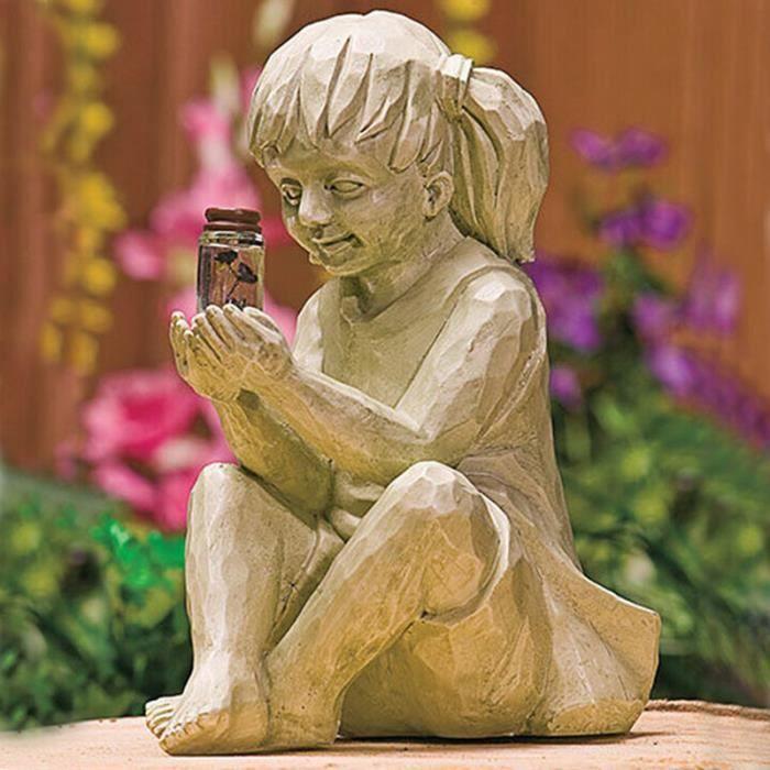 Statue de jardin de fille tenant une statue de résine de bouteille de luciole, statue de fille, décoration de sculpture extérieure d