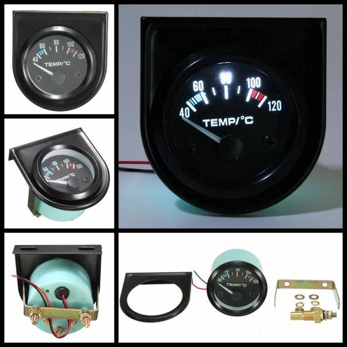 2'' 52mm Auto LED Eau Température Temp Gauge Pointer Tableau Manometre Capteur