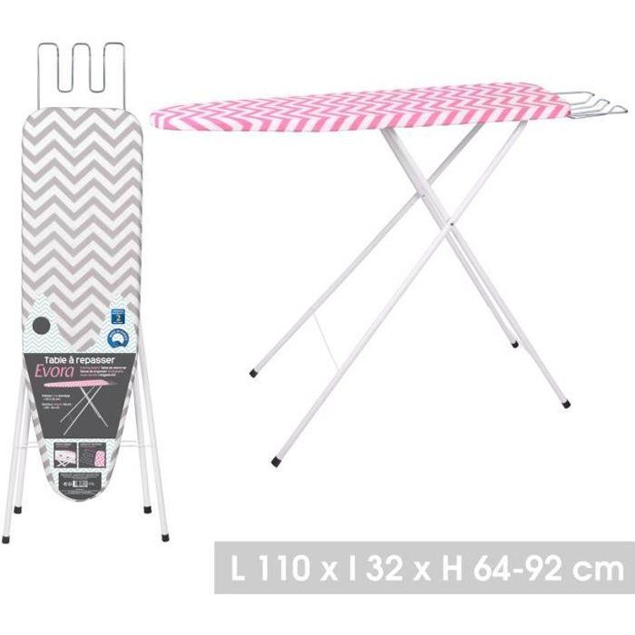 Table à repasser 110 x 32 X 92 cm - Planche à repasser hauteur réglable de 64 / 92 cm