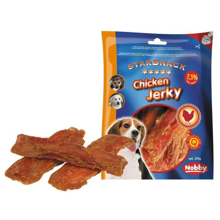 NOBBY Snack poulet jerky pour chien 375g