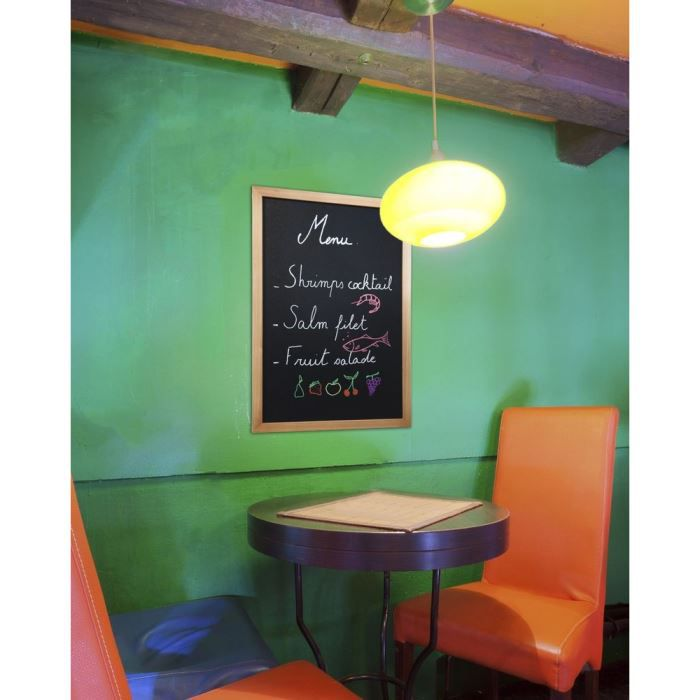 Ardoise murale Securit® avec cadre marron et un feutre craie liquide Securit®. 60x40 cm