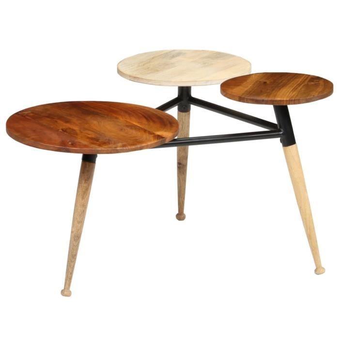 Table basse Bois de manguier massif et acier 89 x 77 x 52 cm - Brun - Meubles/Tables/Consoles/Tables basses - Brun - Brun