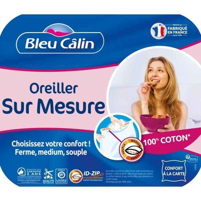 BLEU CALIN Oreiller Sur Mesure 60x60cm