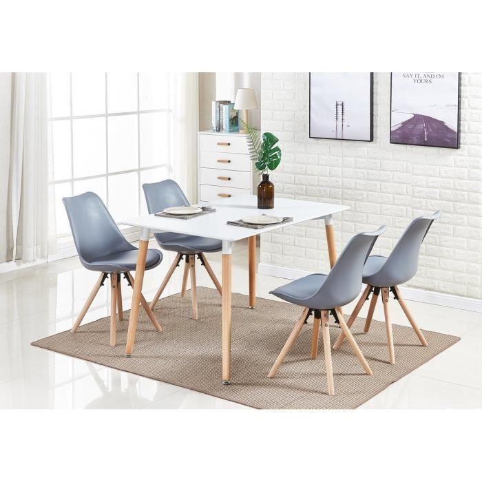 Ensemble Table à Manger Moderne Sophie Blanche + 4 Chaises Grises - Style  Scandinave - Salle à Manger, Salon, Bureau