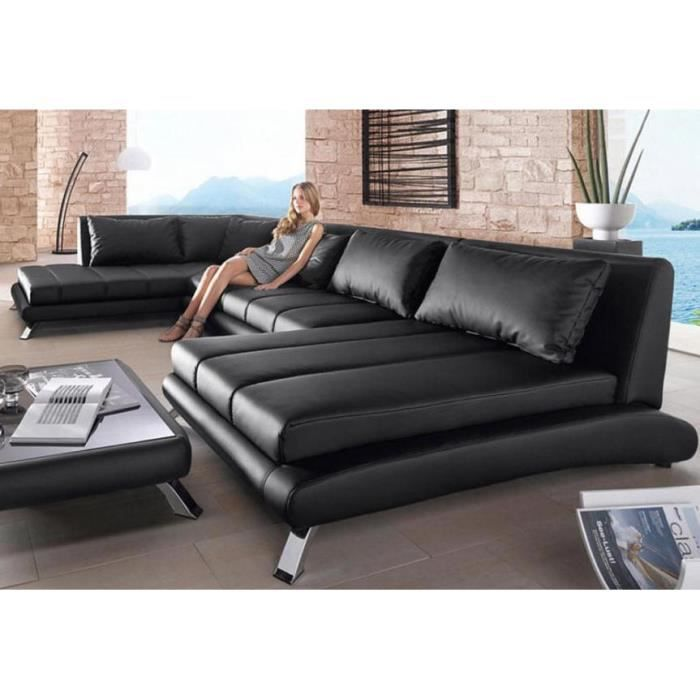 canap d 39 angle panoramique en pu noir duccio 3 a droite achat vente canap sofa divan. Black Bedroom Furniture Sets. Home Design Ideas