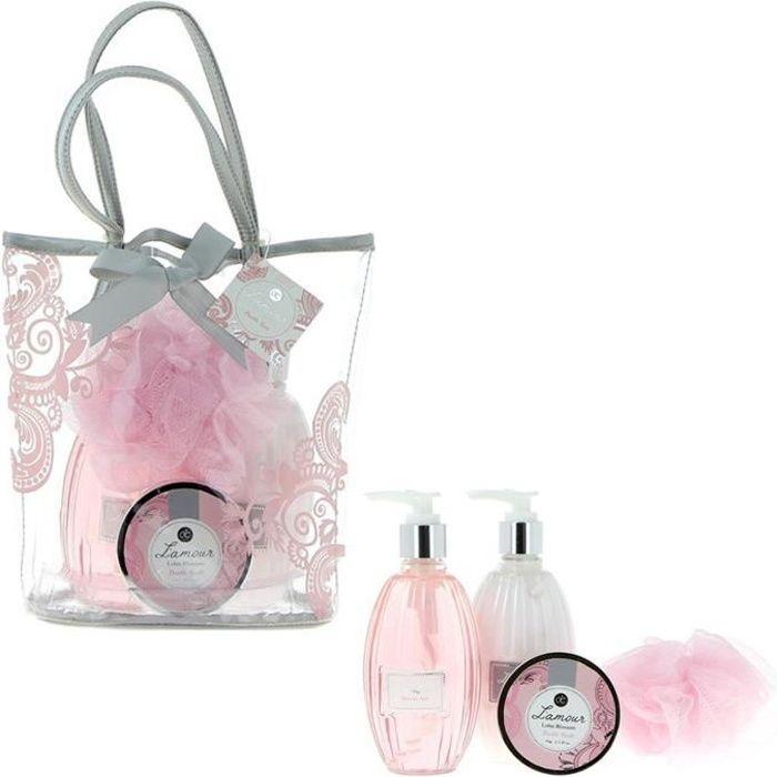 Coffret Cadeau Bien Être L'AMOUR Parfum FLEUR DE LOTUS dans Sac