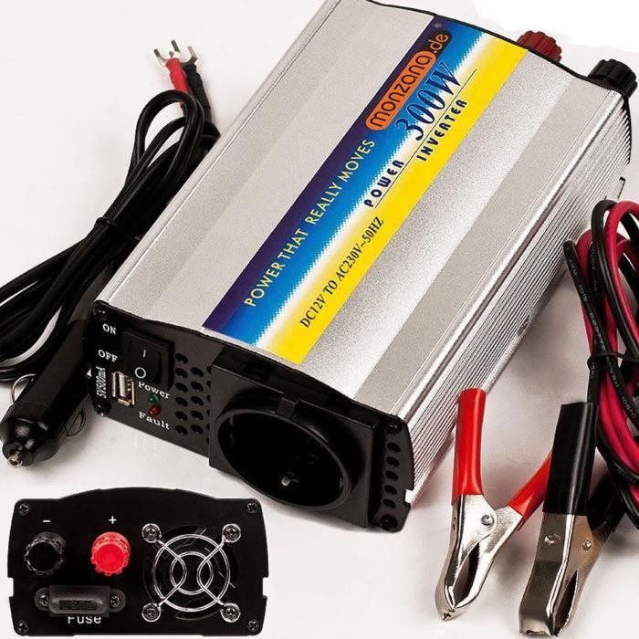 Convertisseur onduleur électrique port USB 300/600W 12V-230V accessoires
