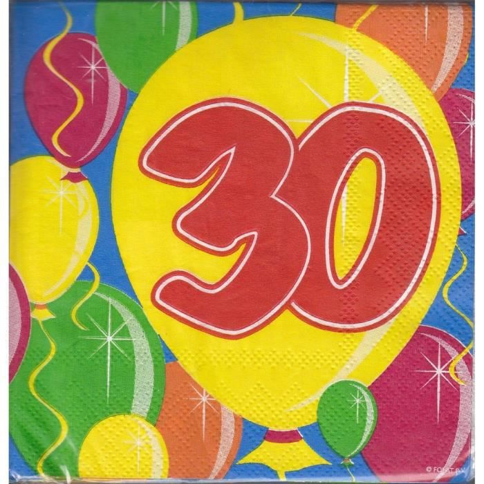 dcors de table lot de 20 serviettes ballons 30 ans - Meuble Pour Papier2020