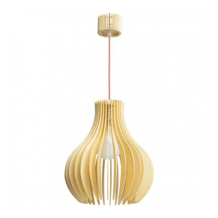 Paris prix lampe suspension bois dana beige achat for Lampe suspension bois