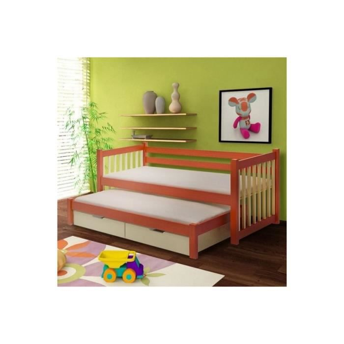 Lit enfant gigogne kaetan en pin massif couleur marketing blanc composi - Lit bois massif blanc ...