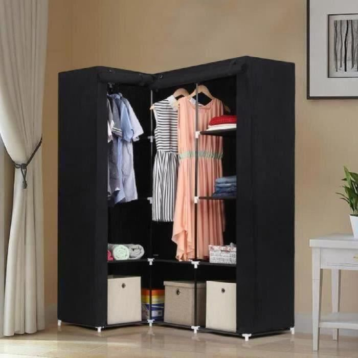 songmics armoire d 39 angle dressing en textile non tiss. Black Bedroom Furniture Sets. Home Design Ideas