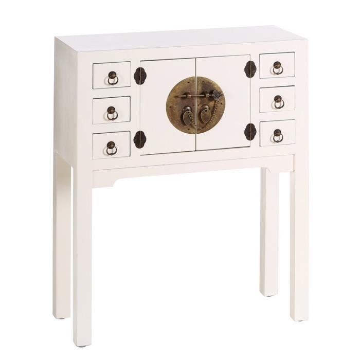 CONSOLE Console 2 portes, 6 tiroirs Blanc Meuble Chinois -