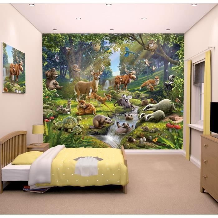 Papier peint enfant fresque murale d corative animaux de la for t achat vente stickers for Chambre jungle cdiscount