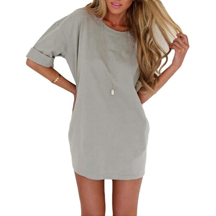 Robe ample Casual T-shirt à manches courtes Robe trapèze mini-robes de base Tunique Robes Gris - b 2XOJM8 Taille-34