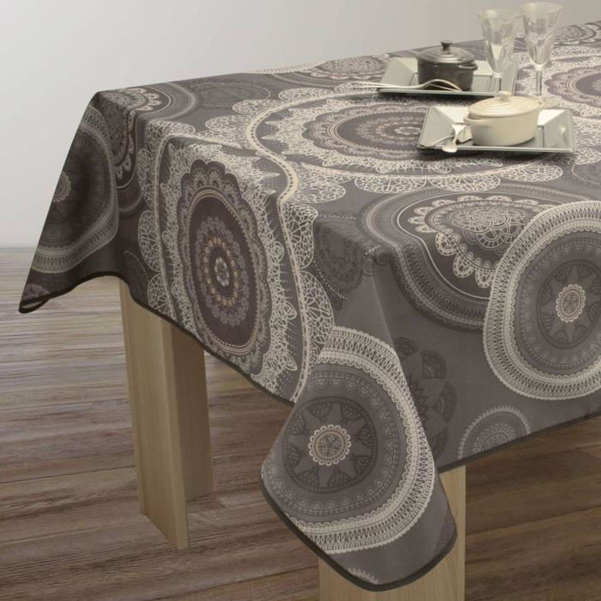 nappe de table carr e mandala 180x180cm gris antitache achat vente nappe de table. Black Bedroom Furniture Sets. Home Design Ideas