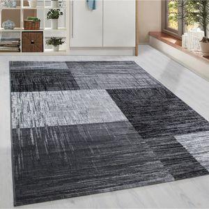TAPIS Tapis Shaggy moderne vérifié gris géométrique noir