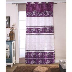 RIDEAU Paire de double rideaux 140x260 cm Violet avec mot