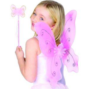 luoem Costume de f/ée fille papillon ailes baguette Bandeau F/ée Jouet 3/pi/èces jaune