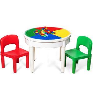 TABLE BÉBÉ COSTWAY Table avec 2 Chaises pour Enfants avec 300