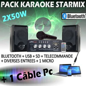 PACK SONO KARAOKÉ ENFANT BLUETOOTH USB + MICRO + AMPLI + ENC