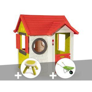 MAISONNETTE EXTÉRIEURE Cabane enfant My House - Smoby + Tabouret + Brouet
