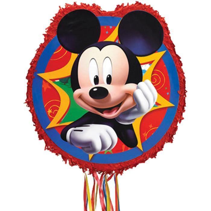 Pinata à ficelles Mickey Mouse en papier et plastique - 45 x 46,9 x 7,6 cm - P34106