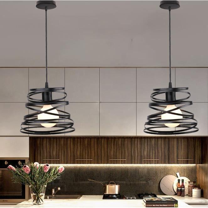 MOGOD 2Pcs Lustre Suspension Réglable design Vintage Cage en Fer Lampe Luminaire Rétro E27 pour Salon Bureau Bar