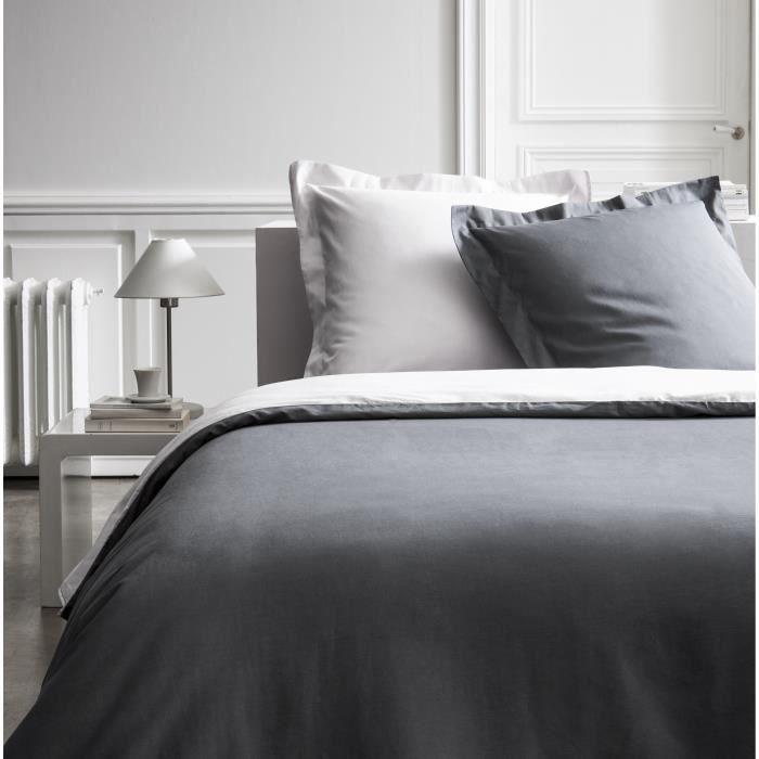 Parure de lit 240X260 2 personnes Percale bicolore gris PREMIUM