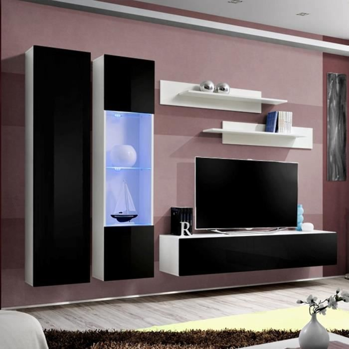 Mur TV design noir et blanc TEODORO Noir L 260 x P 40 x H 190 cm