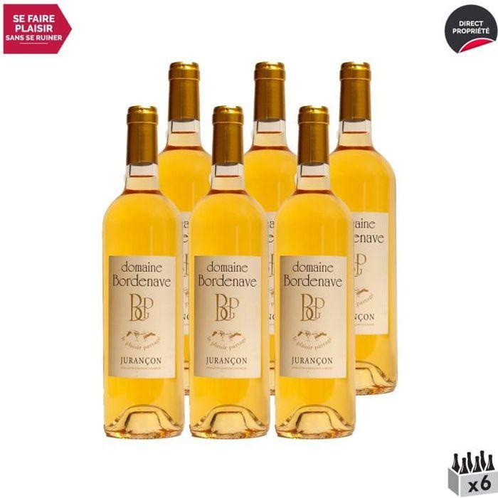 Jurançon Moelleux Le Plaisir Partagé Petit Manseng Blanc 2018 - Lot de 6x75cl - Domaine Bordenave - Vin Doux AOC Blanc du Sud-Ouest