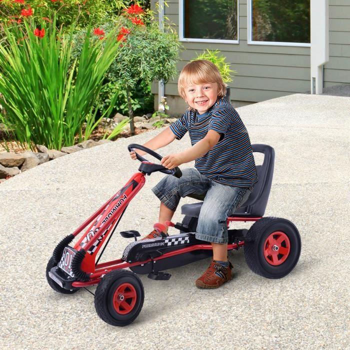 Kart à Pédales en Métal 1 Place Rouge avec Roues en Caoutchouc 101 x 61 x 62CM Convient pour 3 à 8 ans Go Karting Enfant