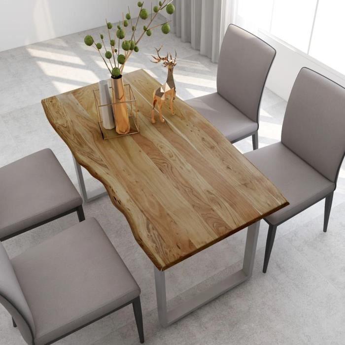 Table de salle à mange 4 à 6 personnes - Style Industriel et Rustique - Bois d'acacia Solide & Pieds en Acier Argenté - 140x70x76 cm