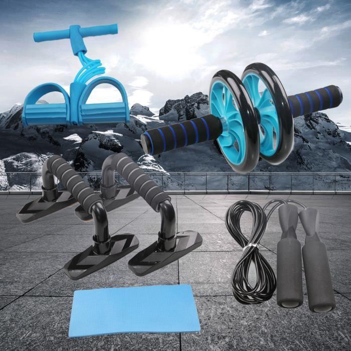CEN 5-en-1 Kit Roue abdominale Support push-up Roue musculaire à roues double multifonction (Bleu)