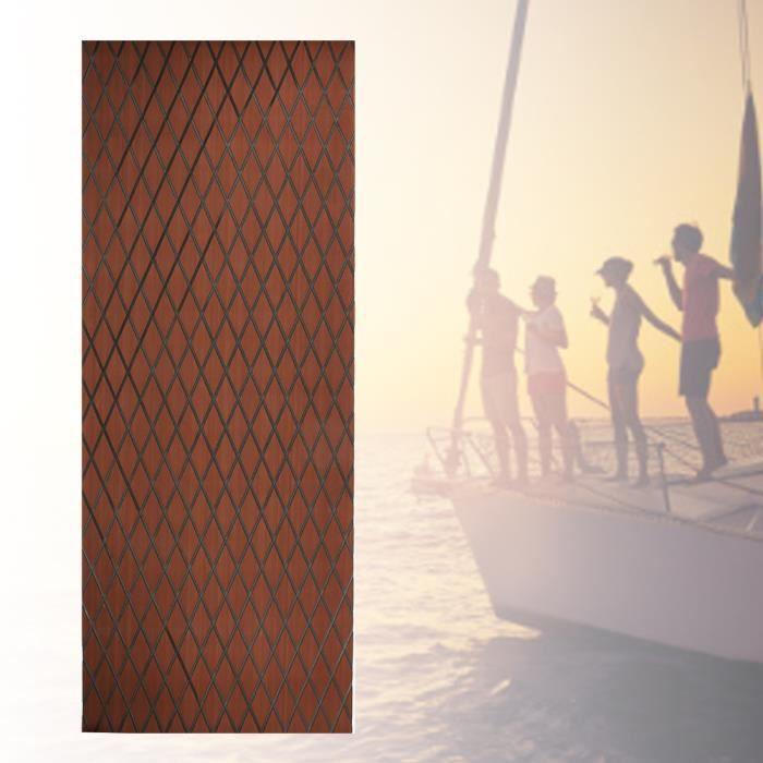 70x190cm Tapis de Sol Marin EVA Tampon Décoratif Auto-Adhésif Antidérapant de Terrasse pour Bateau Yacht(Brun foncé + noir )