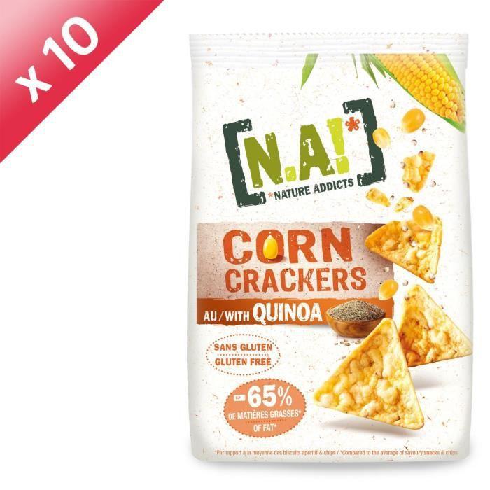 [LOT DE 10] N.A! NATURE ADDICTS Crackers soufflés à base de maïs et quinoa bio - Sans gluten - 50 g