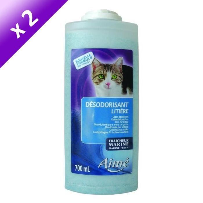 Lot de 2 - AIME Désodorisant pour litière marine 700 ml - Pour chat