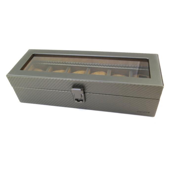 Coffret à montres 'Graphite Design' gris anthracite (6 montres) - 33.5x11x8.5 cm [P1406]