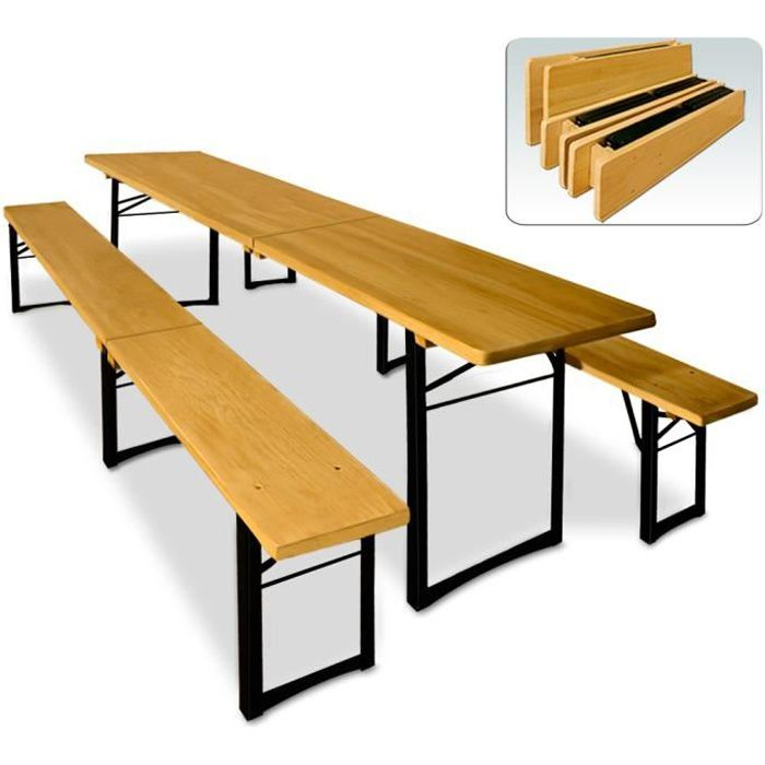 Ensemble table et bancs pliable en Bois 220 cm